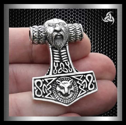 Sinister Silver Co. 925 Sterling Silver Solid Thors Hammer Wolf Pendant