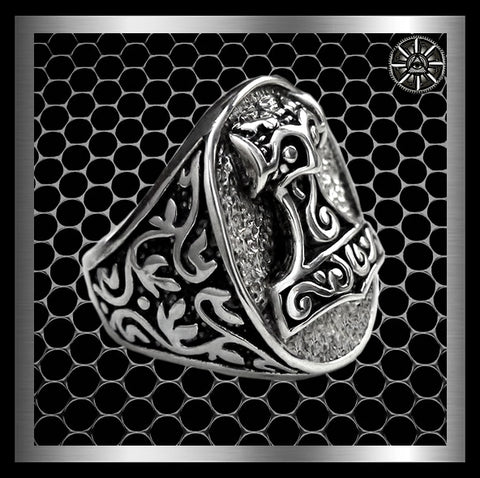 Huge Custom Viking Thors Hammer Ring Sterling Silver Sizes 9 to 14 At Sinister Silver Co.