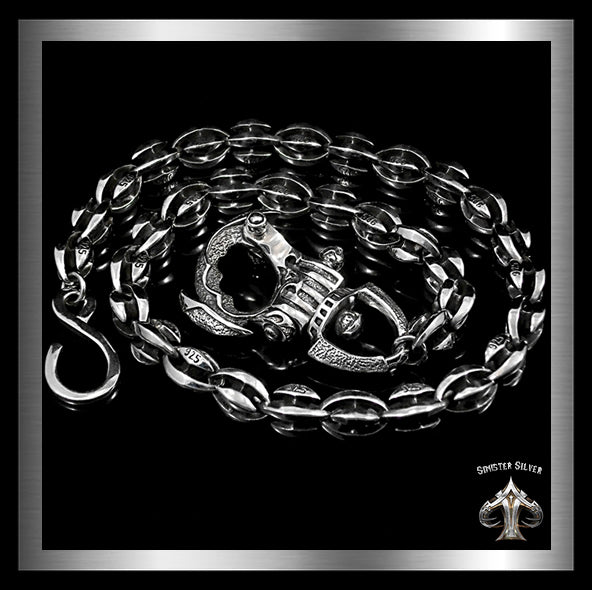Sterling Silver Biker Wallet Chain Blade Link - Sinister Silver Co.