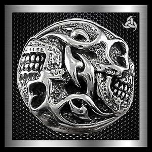 Biker Tribal Double Skull Concho Sterling Silver Screw Back - Sinister Silver Co.