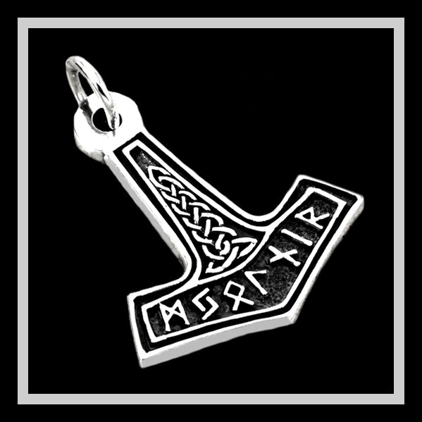 Viking Norse Runes Thors Hammer Pendant Sterling Silver Solid - Sinister Silver Co.