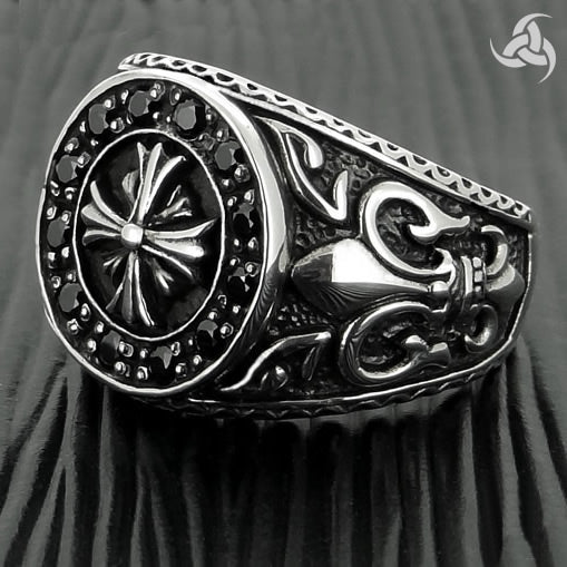 Mens Biker Ring Maltese Templar Cross Sterling Silver Size 9.25, 10 - Sinister Silver Co.