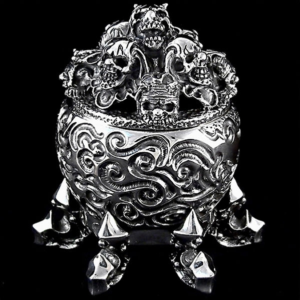Limited Edition Sinister Biker Skull Stash Box 10 Ounce Solid Sterling Silver