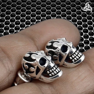 925 Sterling Silver Jewelry 1-Pair Biker Tribal Skull Earrings