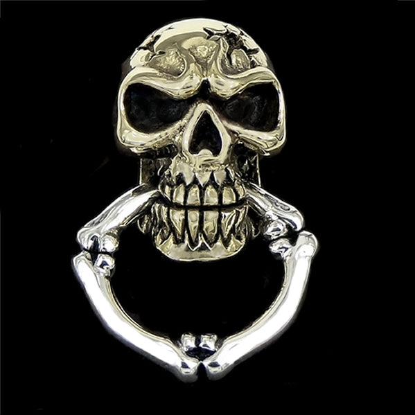 Biker Skull Wallet Chain Connector Concho Sterling Silver And Brass - Sinister Silver Co.