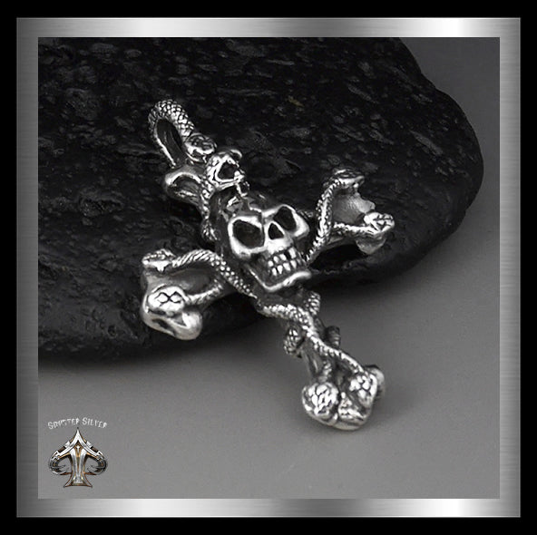 Mens Snakes And Skull Cross Pendant Sterling Silver - Sinister Silver Co.