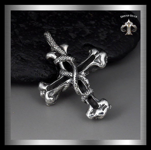 Mens Snakes And Skull Cross Pendant Sterling Silver 2 - Sinister Silver Co.