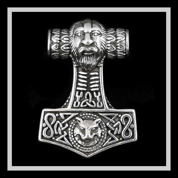 Viking Wolf Fenrir Thors Hammer Pendant Norse SOLID Sterling Silver - Sinister Silver Co.