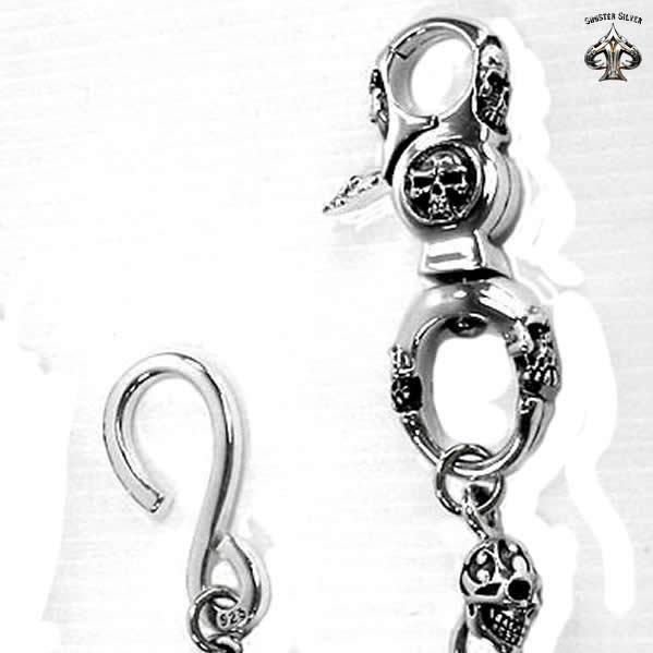 Sterling Silver Biker Blade Skull Wallet Chain - Sinister Silver Co.