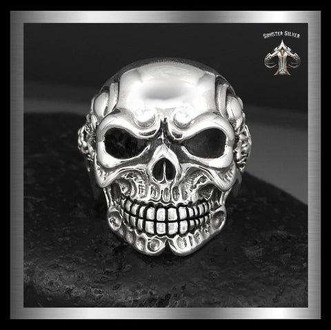 Sterling Silver Mens Biker Boss Heavy Skull Ring - Sinister Silver Co.