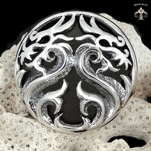 Sterling Silver Biker Dragon Concho Snap Cover - Sinister Silver Co.
