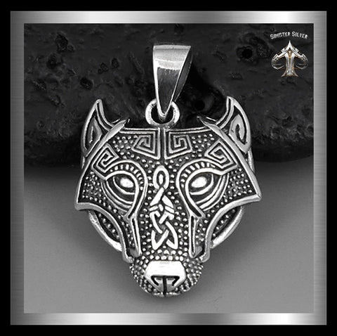 Sterling Silver Biker Pendant Viking Wolf Totem - Sinister Silver Co.