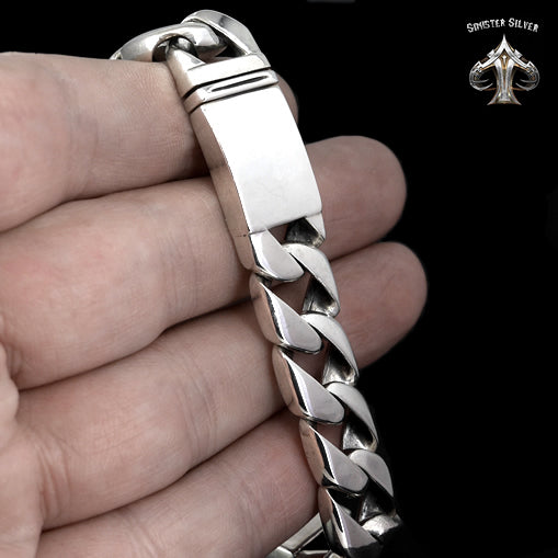Sterling Silver Mens Biker ID Logo Bracelet Curb Chain - Sinister Silver Co.
