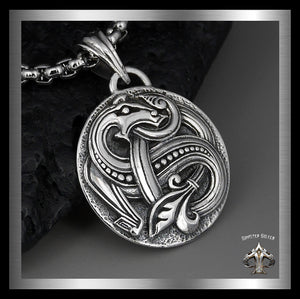 Viking Celtic Serpent Pendant Medallion Sterling Silver Norse Jewelry - Sinister Silver Co.