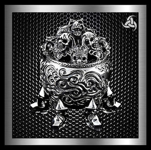 Biker Skull Stash Box Limited Edition 10 Ounce Solid Sterling Silver - Sinister Silver Co.