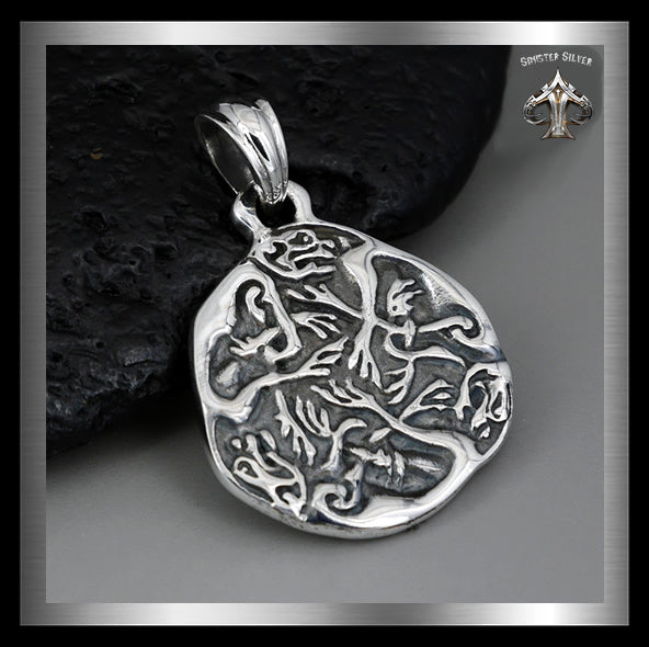 Viking Celtic Hounds Pendant Medallion Sterling Silver Norse Jewelry - Sinister Silver Co.