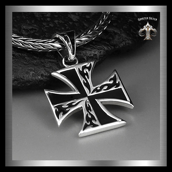 Sterling Silver Biker Flaming Iron Cross Pendant 1 - Sinister Silver Co.