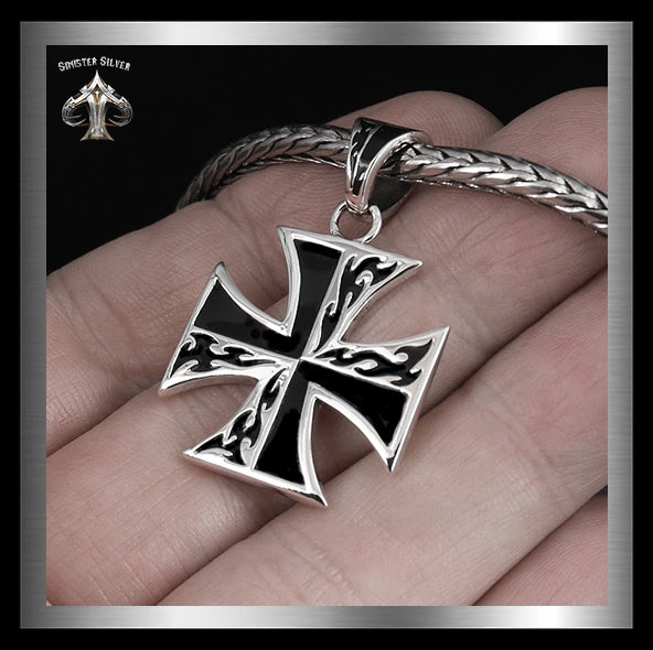 Sterling Silver Biker Flaming Iron Cross Pendant 2 - Sinister Silver Co.