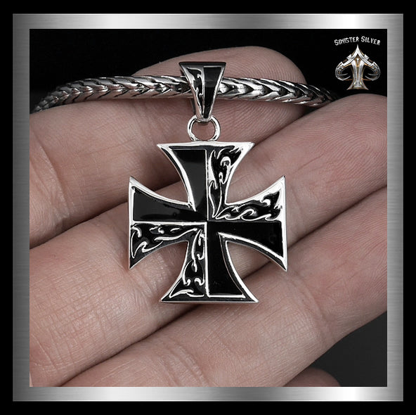 Sterling Silver Biker Flaming Iron Cross Pendant 3 - Sinister Silver Co.