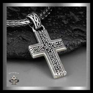 Sterling Silver Celtic Knotwork Cross Pendant Biker Jewelry - Sinister Silver Co.