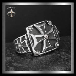 Sterling Silver Knights Templar Masonic Cross Mens Biker Ring 1 - Sinister Silver Co.
