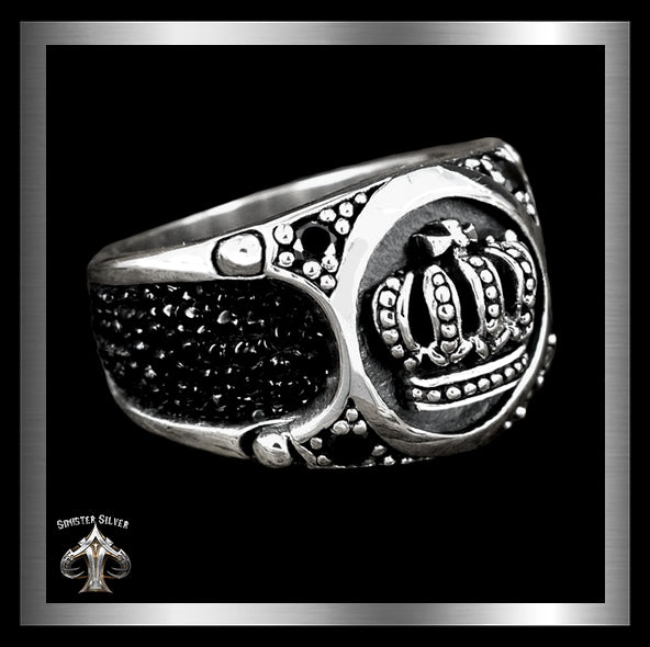 Mens Biker Ring Medieval Celtic Crown Stingray Inlay Sterling Silver 1 - Sinister Silver Co.