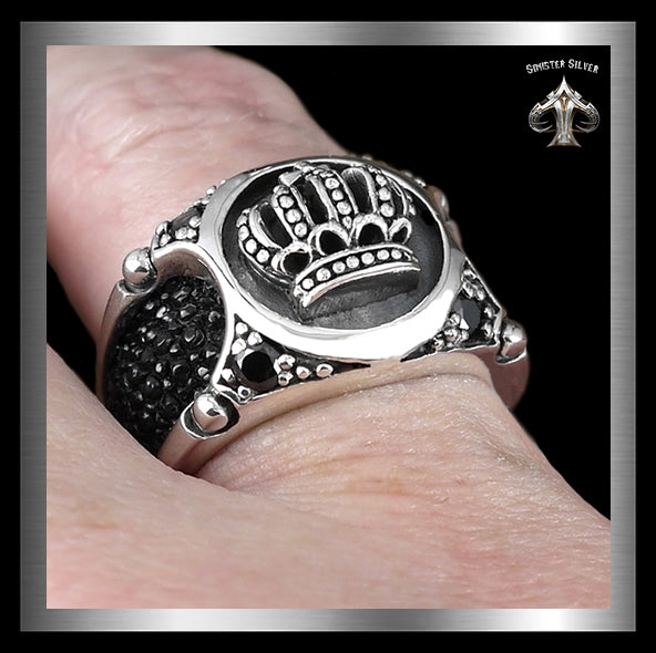 Mens Biker Ring Medieval Celtic Crown Stingray Inlay Sterling Silver 2 - Sinister Silver Co.