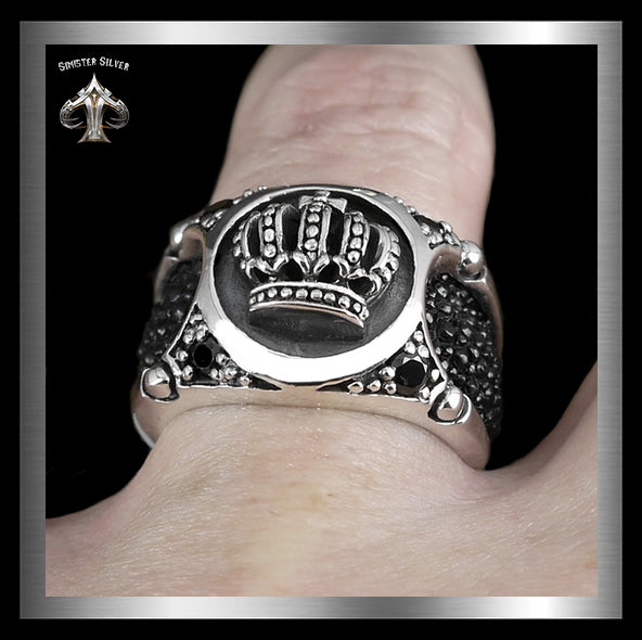 Mens Biker Ring Medieval Celtic Crown Stingray Inlay Sterling Silver 3 - Sinister Silver Co.