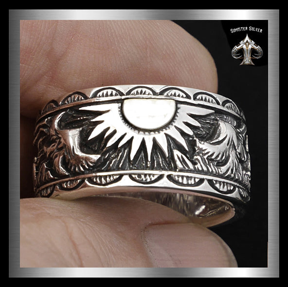 Viking Norse Double Falcon Biker Ring Sterling Silver Band - Sinister Silver Co.