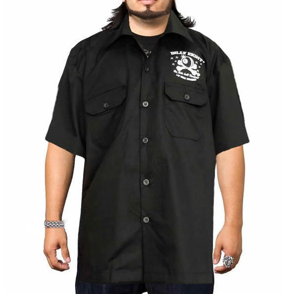 X-Large Black Embroidered Garage Shirt Billy Eight Hot Rod Engine Builders