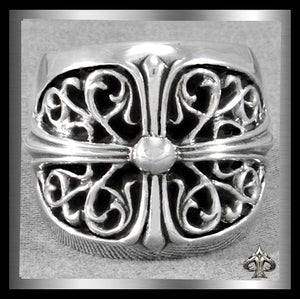 Mens Heavy Biker Ring Celtic Templar Cross Sterling Silver - Sinister Silver Co.