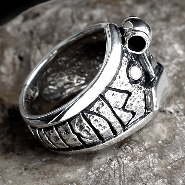 Sterling Silver Viking Thors Hammer Biker Ring - Sinister Silver Co.