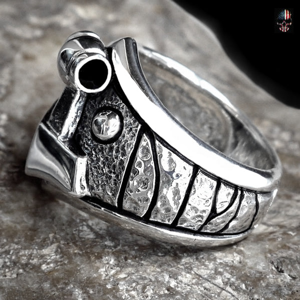 Viking Thors Hammer Ring Sterling Silver With Runes Size 9.25