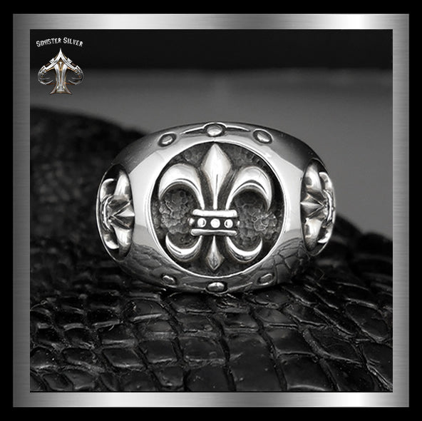 Mens Biker Comfort Fit Ring Triple Fleur De Lis Sterling Silver - Sinister Silver Co.