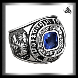Japanese Dragon And Tiger Ring Sterling Silver Blue Topaz Size 9.5, 10 - Sinister Silver Co.