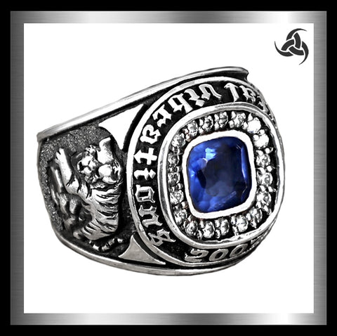 Japanese Dragon And Tiger Ring Sterling Silver Blue Topaz Size 9.5 Sinister Silver Company