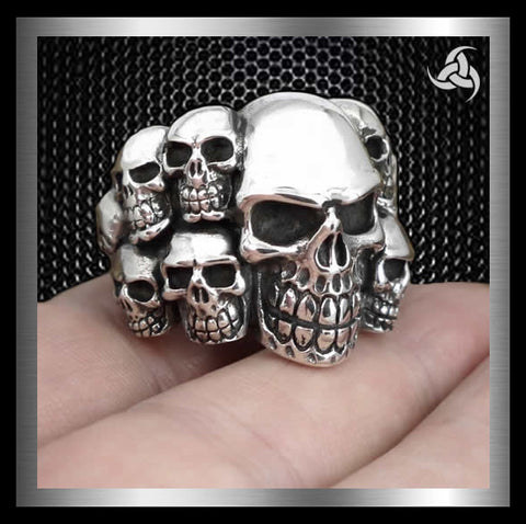 Sterling Silver Tomb Of Skulls Ring - Sinister Silver Co.