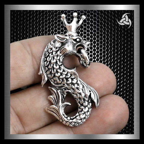 Huge Heavy Midgard Serpent Pendant Sterling Silver Norse Jewelry At SinisterSilverCo