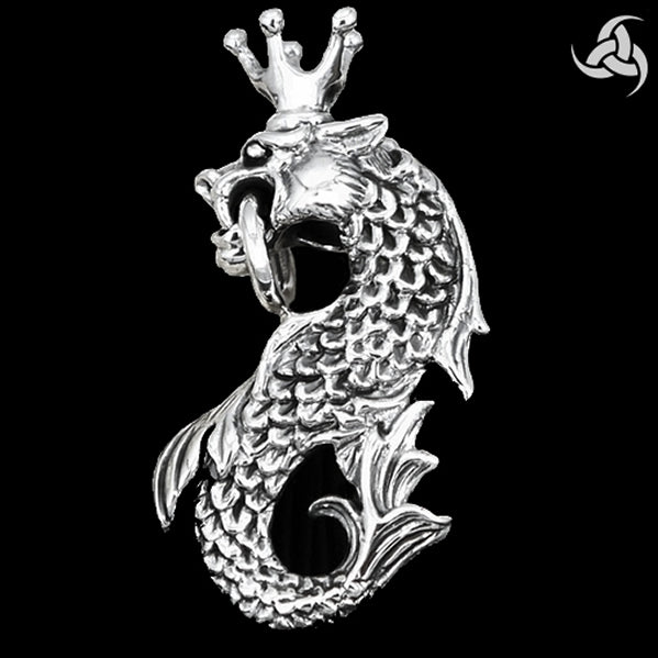 Huge Heavy Midgard Serpent Pendant Sterling Silver Norse Jewelry