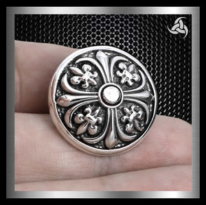 Cross Fleur Concho Sterling Silver Snap Cover For Leather Crafts - Sinister Silver Co.