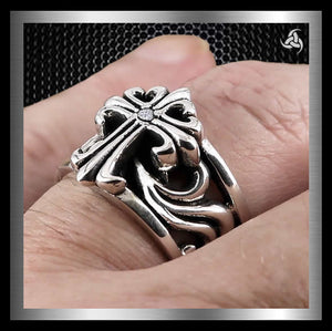 Mens Biker Ring Crusader Cross Design Sterling Silver CZ Size 9.75 - Sinister Silver Co.