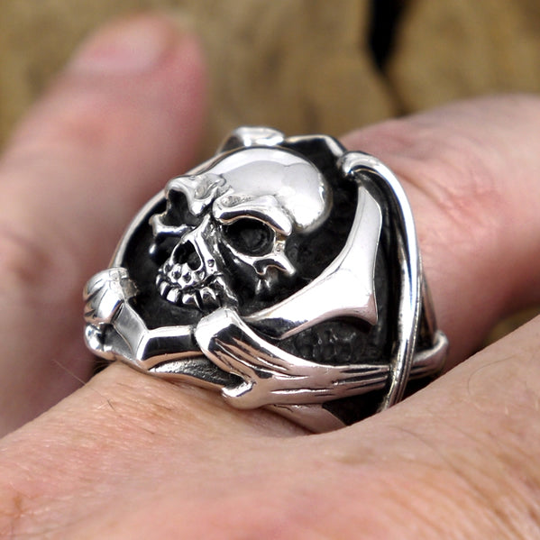 Mens Biker Ring Sterling Silver Skull And Bones Size 9-12 Heavy Design
