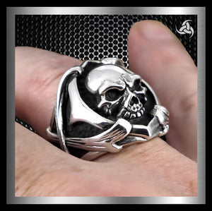 Skull And Bones Biker Ring Sterling Silver Size 10 at Sinister Silver Company