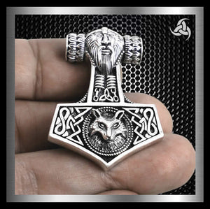 Viking Wolf Fenrir Thors Hammer Pendant Norse Sterling Silver - Sinister Silver Co.