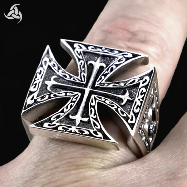 Sterling Silver Iron Maltese Cross Mens Biker Ring - Sinister Silver Co.