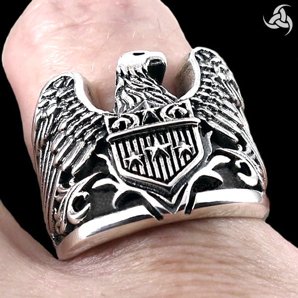 Mens Biker Ring Heavy American Eagle Sterling Silver Size 8 to 9.5 - Sinister Silver Co.