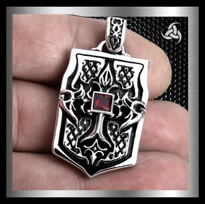 Heavy Biker Tribal Flame Dog Tag Pendant Sterling Silver - Sinister Silver Co.
