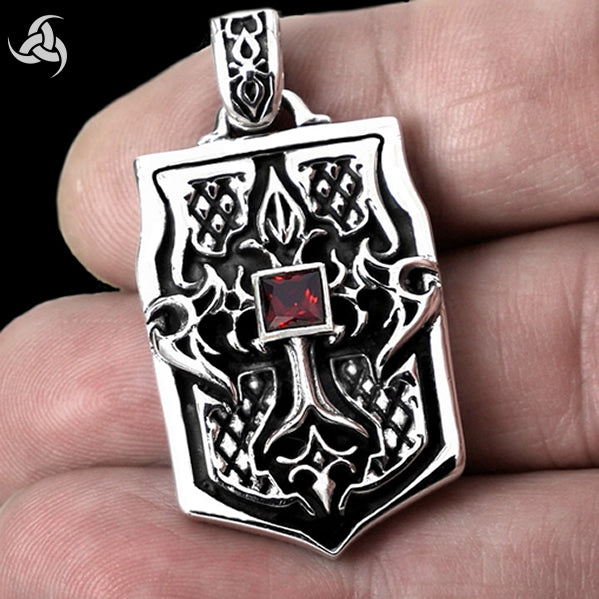 Heavy Biker Tribal Flames Tattoo Dog Tag Pendant Solid Sterling Silver - Sinister Silver Co.