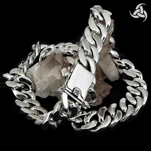 "Cuban Curb Chain Link Biker 20"" Necklace Chain Sterling Silver 10 Oz"