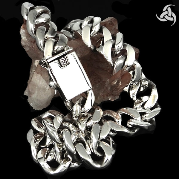 Sterling Silver Biker Necklace Curb Link Chain 10 Oz - Sinister Silver Co.